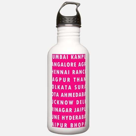 H Pink Indian Cities Water Bottle