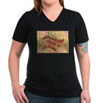 Flat Colorado Women's V-Neck Dark T-Shirt