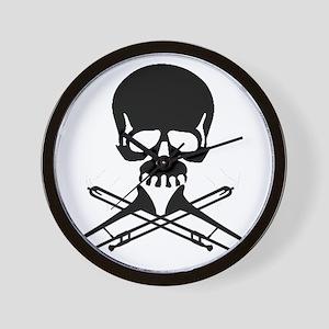 Skull with Trombones Wall Clock