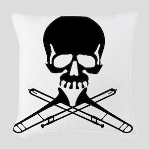 Skull with Trombones Woven Throw Pillow