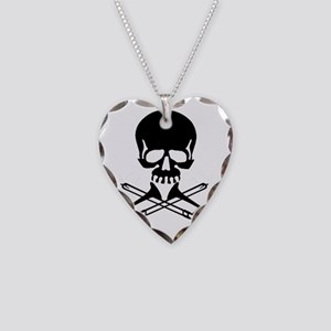 Skull with Trombones Necklace Heart Charm