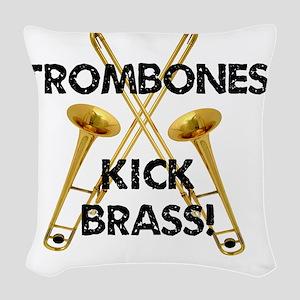 Trombones Kick Brass Woven Throw Pillow
