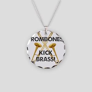 Trombones Kick Brass Necklace Circle Charm