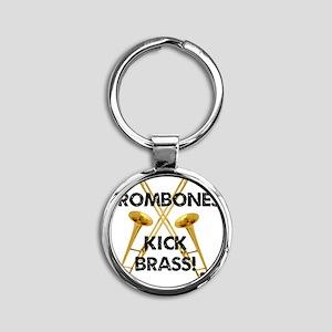 Trombones Kick Brass Round Keychain