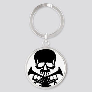 Skull with Trumpets Round Keychain
