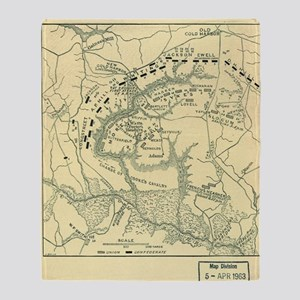 Map Battle of Cold Harbor Throw Blanket