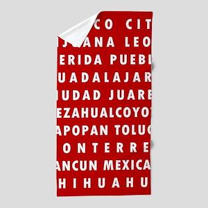Red MX Cities Beach Towel