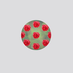 Red rose ornament on spring green and  Mini Button