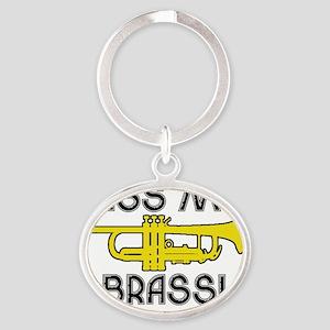 Kiss My Brass Oval Keychain