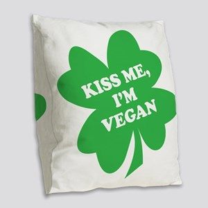 Kiss Me, Im Vegan Shamrock Burlap Throw Pillow