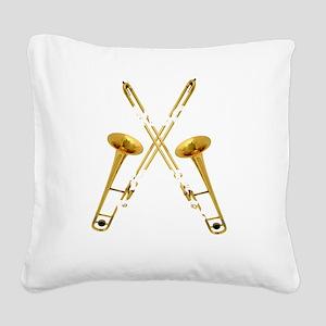 Trombones Kick Brass! Square Canvas Pillow