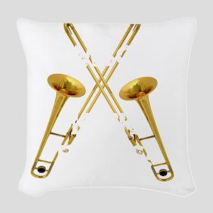 Trombones Kick Brass! Woven Throw Pillow