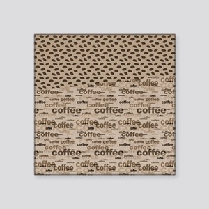 """Coffee and Beans Square Sticker 3"""" x 3"""""""