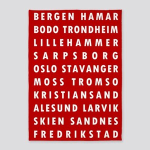 Red Norway Cities 5'x7'Area Rug