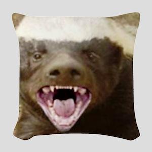 honey badger Woven Throw Pillow