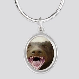 honey badger Silver Oval Necklace