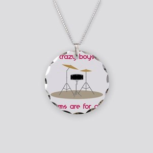 Drums Are For Girls Necklace Circle Charm