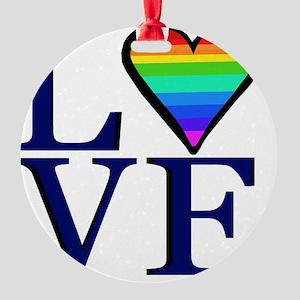 Rainbow Love Round Ornament