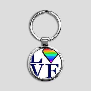 Rainbow Love Round Keychain
