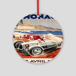 1936 Monte Carlo Grand Prix Poster Round Ornament