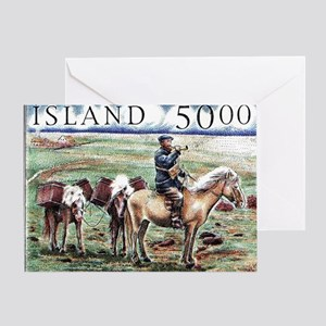 Iceland 1997 Overland Post Mailman P Greeting Card