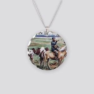 Iceland 1997 Overland Post M Necklace Circle Charm