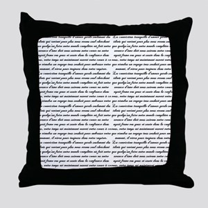 French Script Throw Pillow