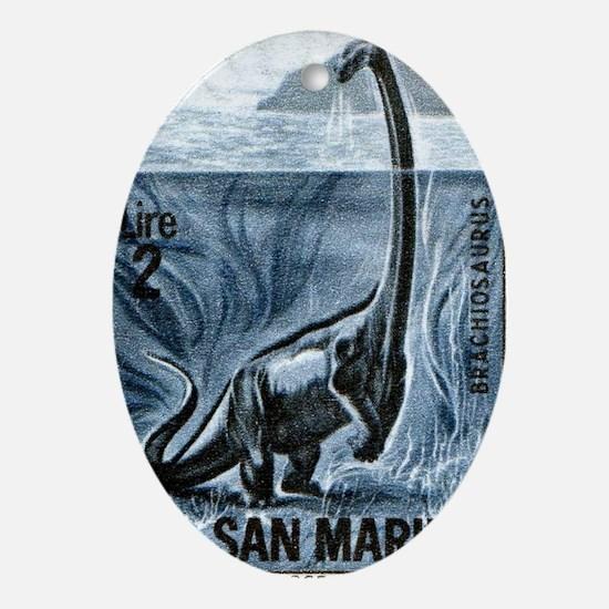 San Marino 1965 Brachiosaurus Dinosa Oval Ornament