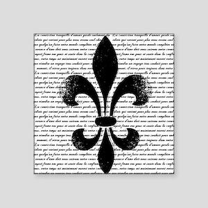"""Vintage Fleur de lis Square Sticker 3"""" x 3"""""""