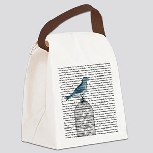 Bird on Cage Canvas Lunch Bag