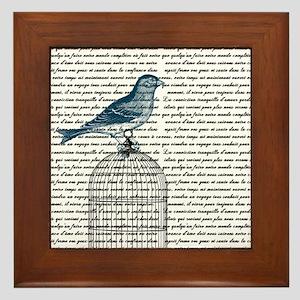 Bird on Cage Framed Tile
