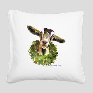Christmas Goat Square Canvas Pillow