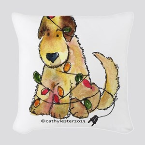 Doodle Holiday Lights Woven Throw Pillow