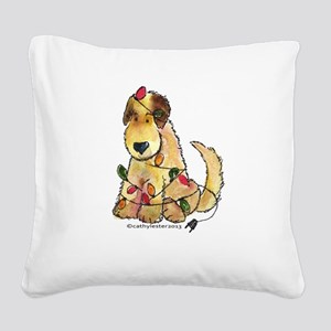 Doodle Holiday Lights Square Canvas Pillow