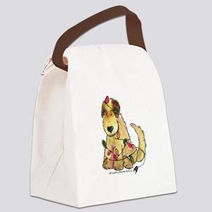 Doodle Holiday Lights Canvas Lunch Bag