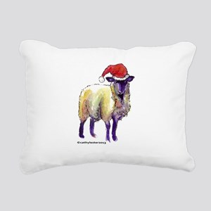 Sheep with Santa Hat Rectangular Canvas Pillow