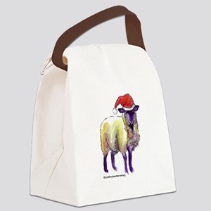 Sheep with Santa Hat Canvas Lunch Bag