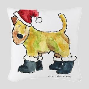 Wheaten Santa Woven Throw Pillow