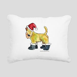 Wheaten Santa Rectangular Canvas Pillow