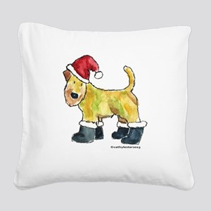 Wheaten Santa Square Canvas Pillow
