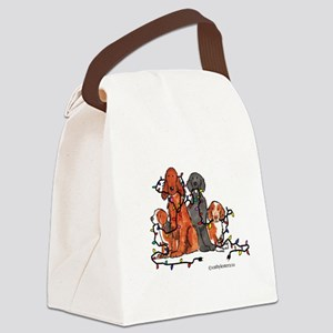 dogchristmasparty Canvas Lunch Bag