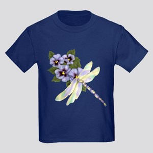 Dragonfly and Pansy Floral Kids Dark T-Shirt