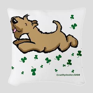 SCWTshamrockjump Woven Throw Pillow