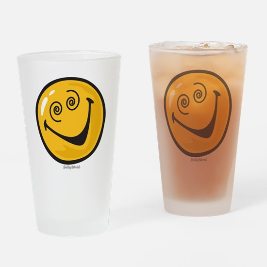 crazy smiley Drinking Glass