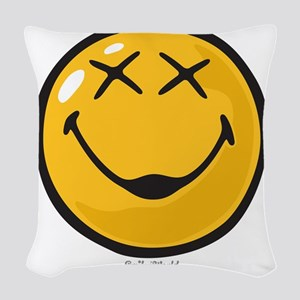 unconscious smiley Woven Throw Pillow