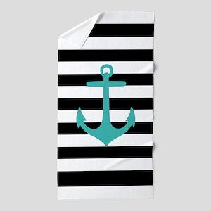 Aqua Nautical Anchor Black Stripes Beach Towel