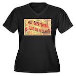 Flat N Dakota Women's Plus Size V-Neck Dark T-Shir