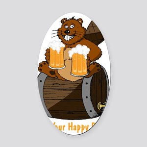 Happy Beaver Brewery Oval Car Magnet