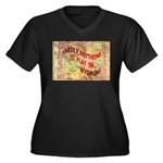 Flat Wyoming Women's Plus Size V-Neck Dark T-Shirt