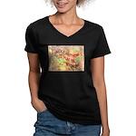 Flat Wyoming Women's V-Neck Dark T-Shirt